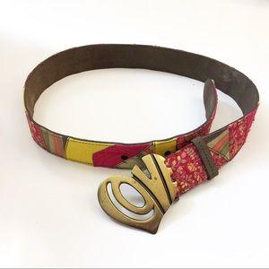 Lucky Brand belt love heart buckle boho floral